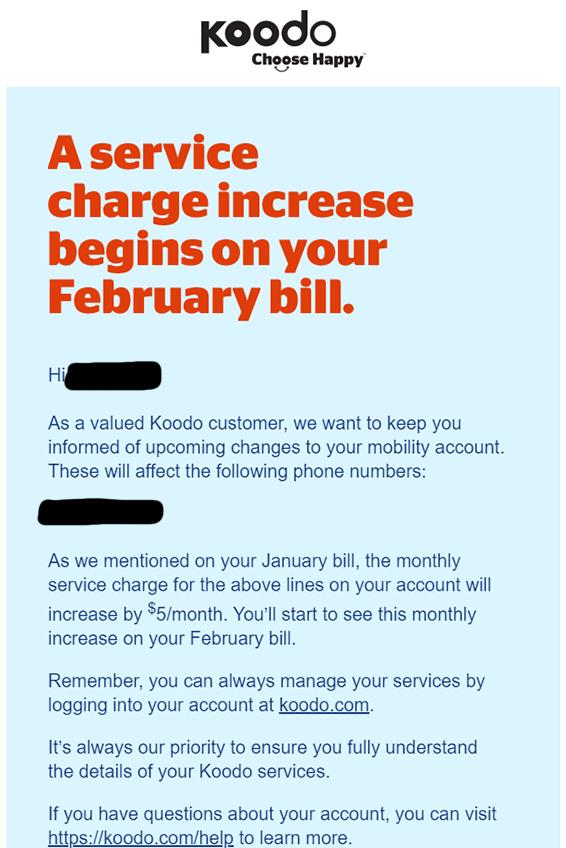 koodo legacy price increase email
