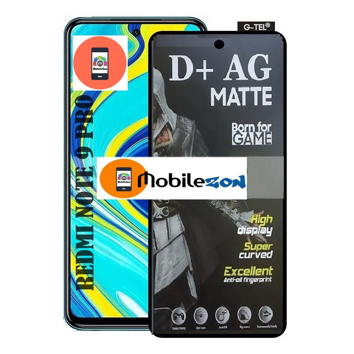 redmi note 9 matte tempered glass