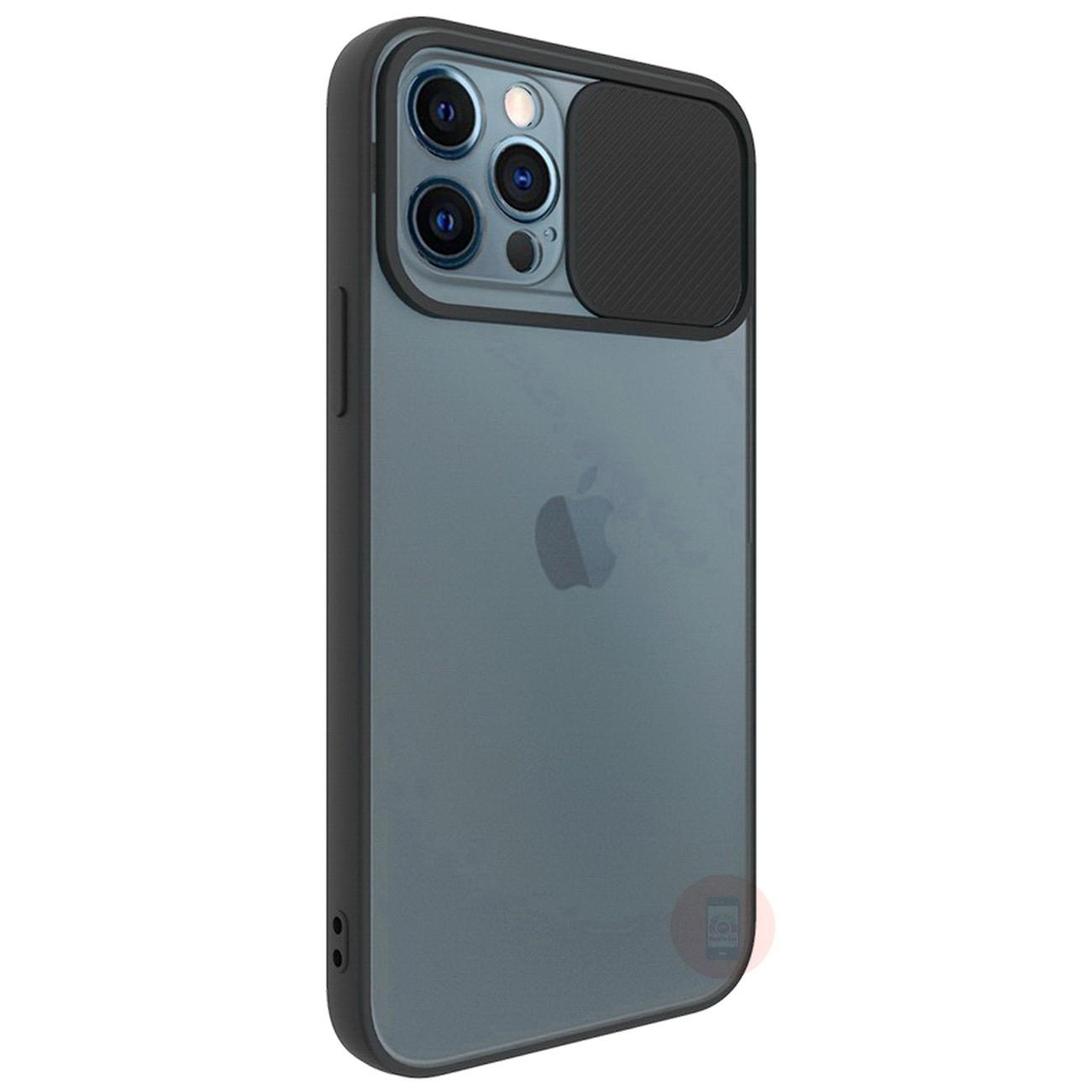 iPhone 12 Pro Max Camera Shutter Slide Smoke Back Case Cover