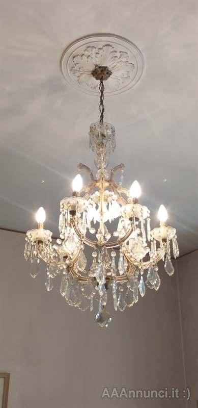 Modello circolare in vetro decorato e o Raffinato Lampadario Vintage Anni 50 60 Color Bronzo In Ottime Condizioni Cosenza