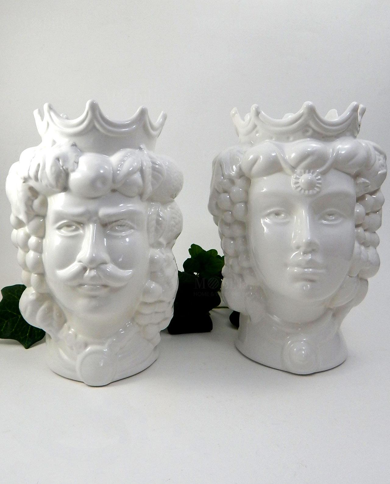 Teste di moro grandi ceramica bianca di Caltagirone