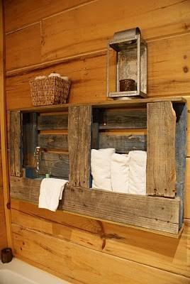 Portasciugamani rustico per la vostra stanza da bagno fatta di pallet di legnoMobili con Pallet