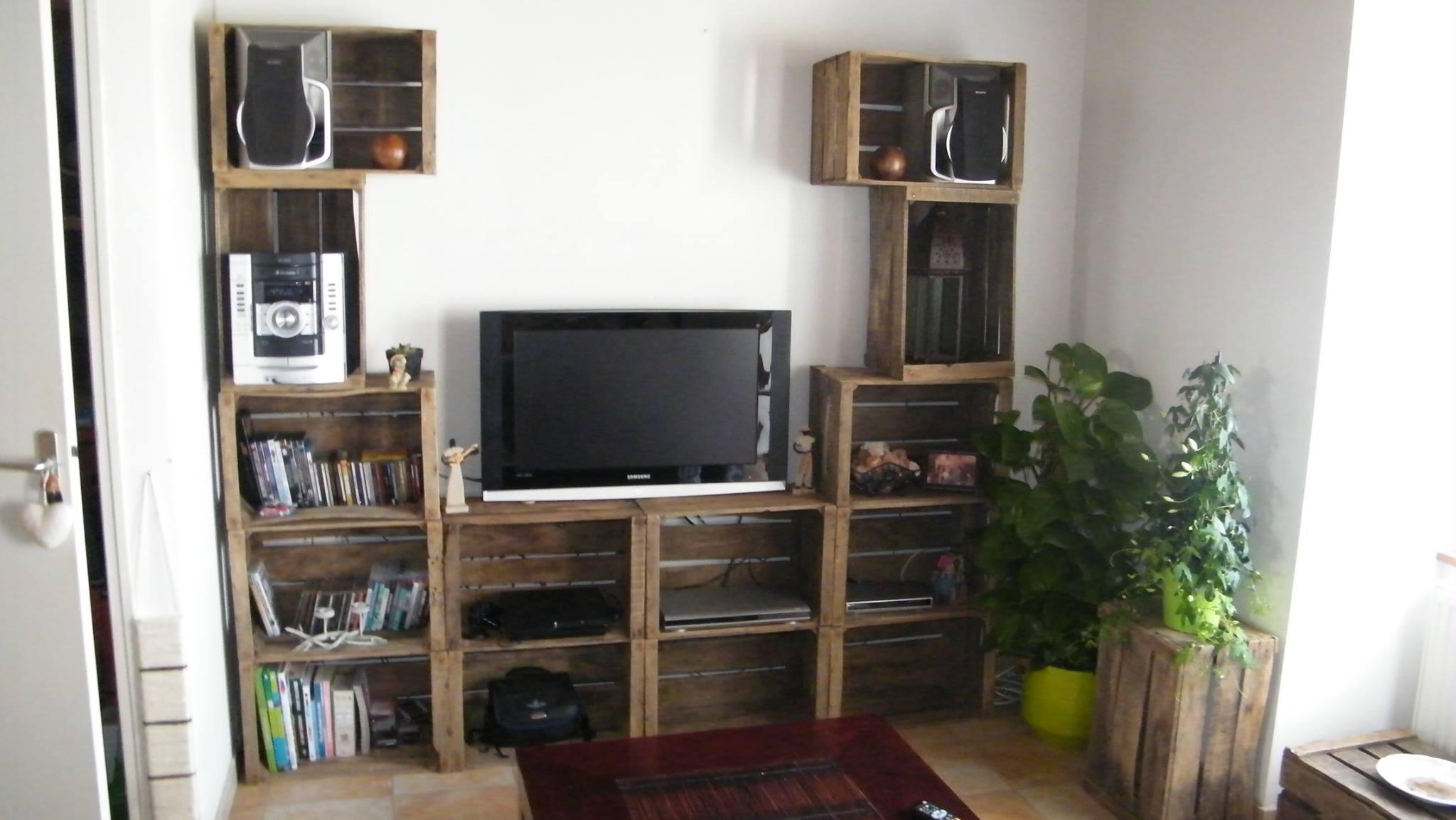 4 TV Mobili con cassette di fruttaMobili con Pallet