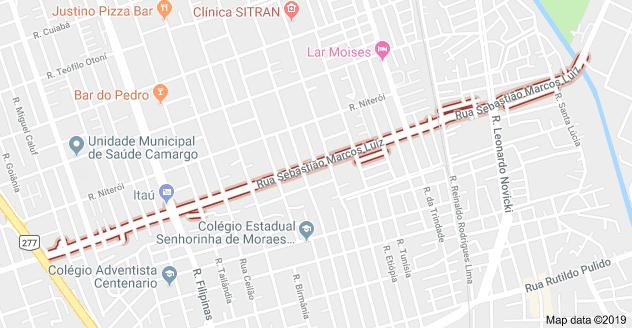 Rua Sebastião Marcos Luiz no Cajuru