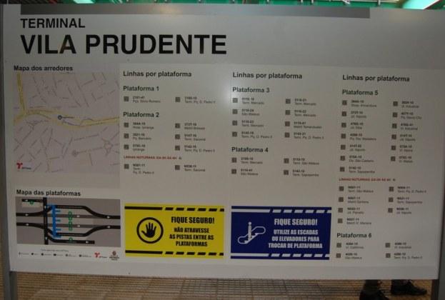 Terminal Vila Prudente Mapa