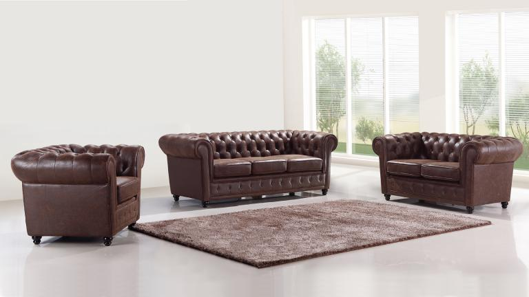 Salon Complet Style Chesterfield Liverpool Mobilier Moss