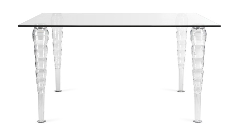 table a diner rectangulaire style baroque transparente 200x100 henry