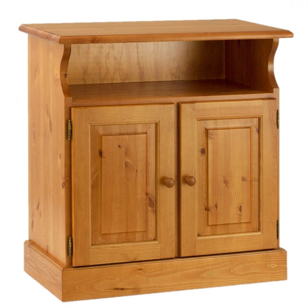 Porta tv 2 ante e vano a giorno in legno di pino massello