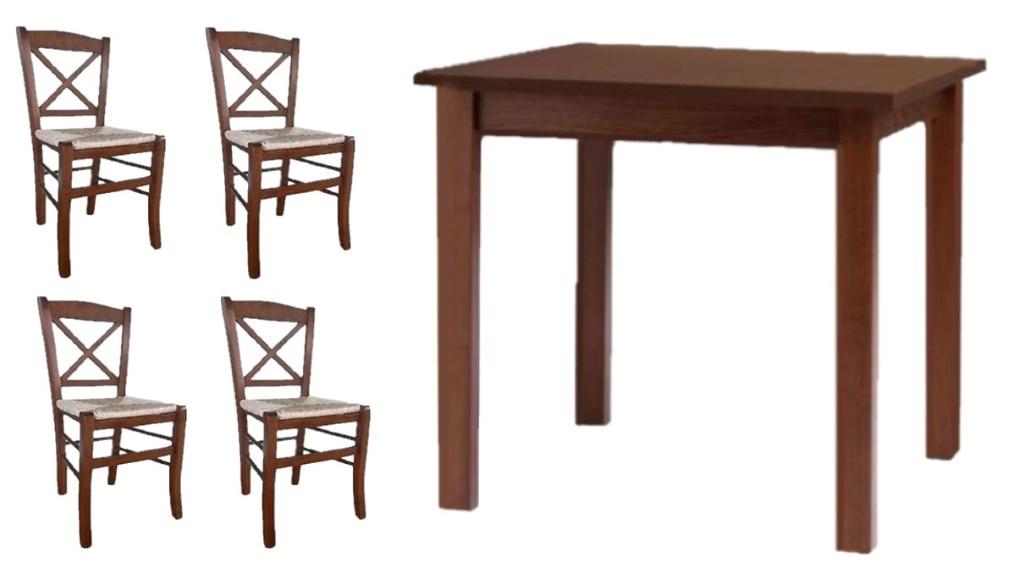 Si tratta di deliziosi tavolini rotondi, di solito parte integrante di un set comprendente anche tre o quattro sedie nello stesso. Set Tavoli In Legno Color Noce Con Sedie Croce Shabby Provenzali Con Paglia Mobilificio Maieron Paluzza Udine Italia