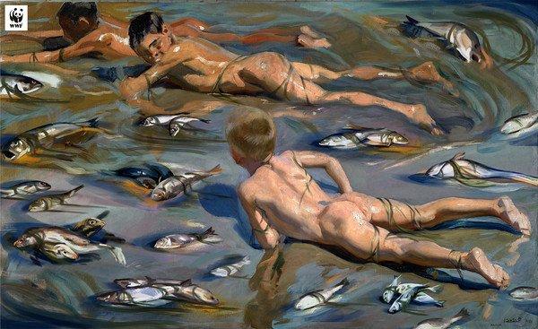 """I """"Bambini sulla spiaggia"""" di Sorolla per sensibilizzare l'opinione pubblica sull'estinzione delle specie marine"""