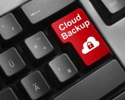 dark grey keyboard red button cloud backup security