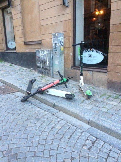 Kick scooters blocking footpath