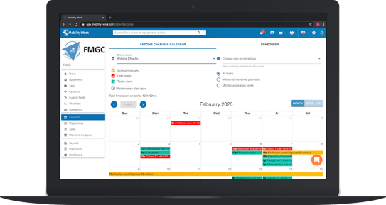 The schedule of a maintenance technician in a mobile CMMS