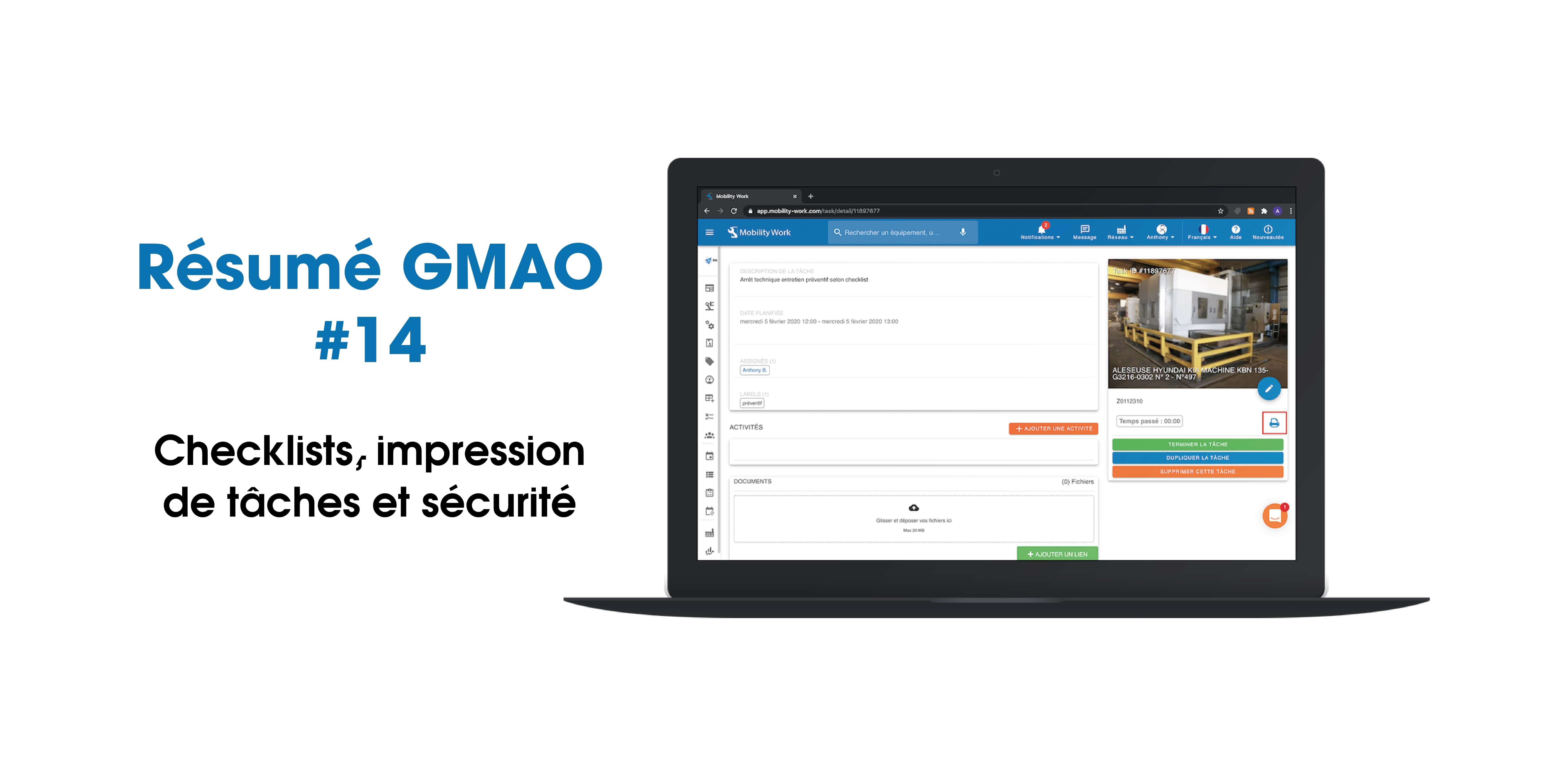 Nouveautés GMAO : checklist, recherche et sécurité | Septembre 2020