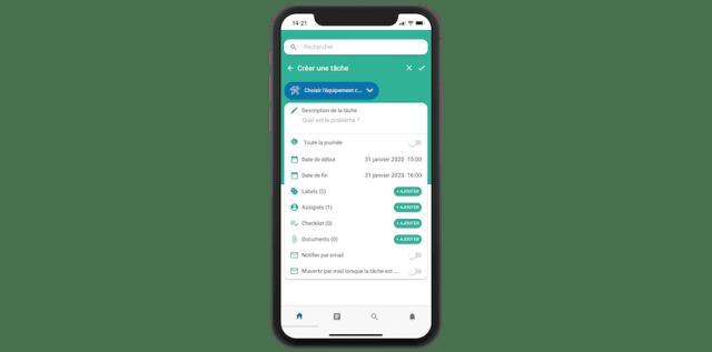 Un ordre de travail de logistique dans une GMAO mobile