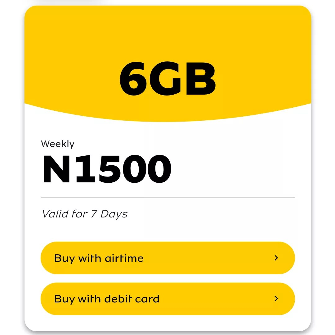 mtn weekly jolly data plan 6gb for 1500 naira