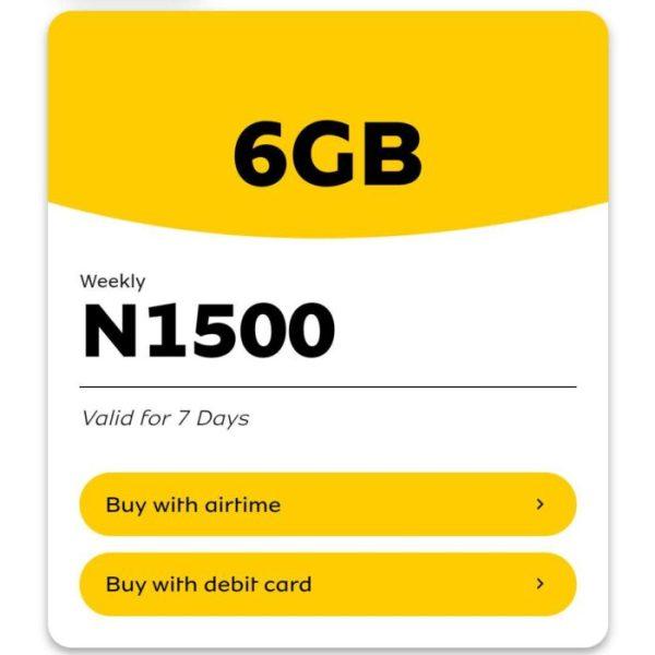 mtn weekly jolly data plan 6gb for 1500 naira
