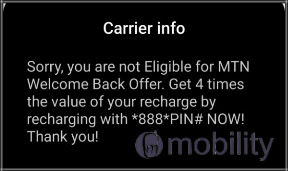 MTN 4gb data for 1000 naira welcome back offer