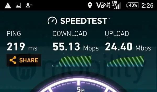 ntel 4g speedtest - 55 Mbps