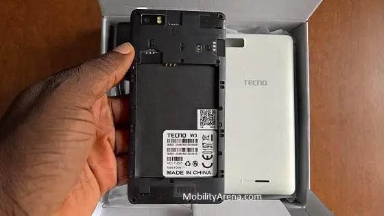 TECNO W3 Photos back cover off