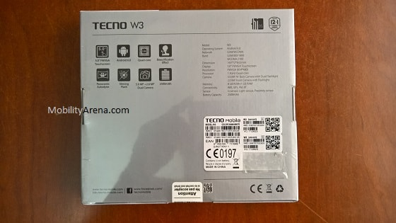 TECNO W3 Photos box backside