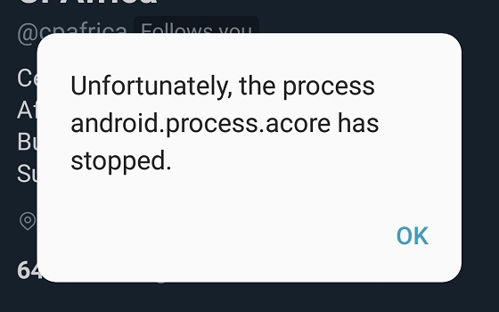 Samsung Galaxy A5 2017 android.process.acore has stopped