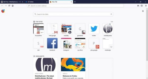 Firefox Quantum Browser for Windows PC top sites