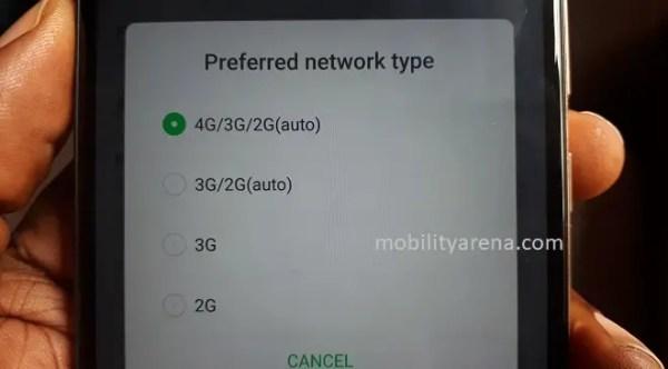 Infinix Note 4 Pro Network Mode