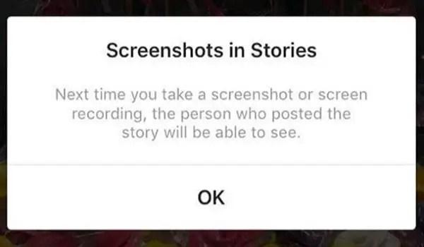 Instagram screenshot alerts for Stories