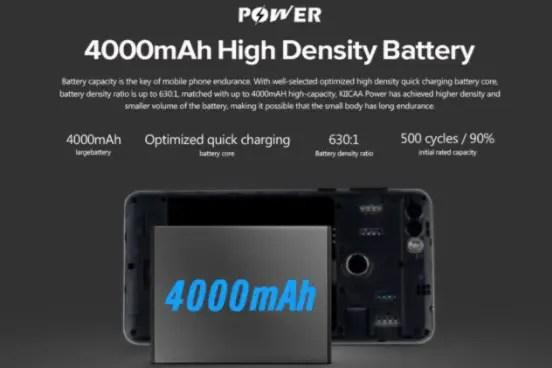 leagoo KIICAA Power battery details