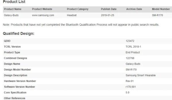 Samsung Galaxy Buds product list
