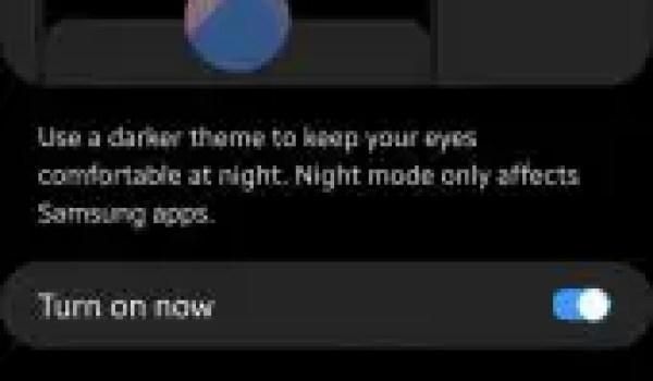 samsung night mode settings