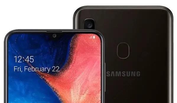 Samsung Galaxy A20 2019 top
