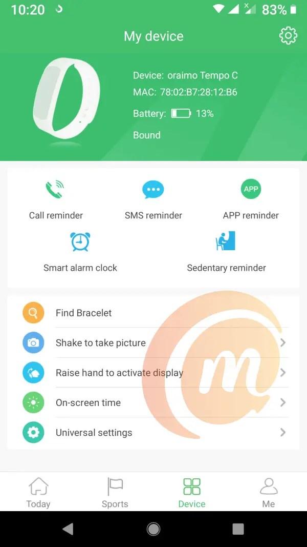 Joywear 2 mobile app for oraimo Tempo C smart fitband