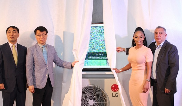 Toke Makinwa and LG officials unveil ThinQ Dualcool Premium AC in Lagos