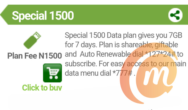 weekly data plan for Glo 1500special