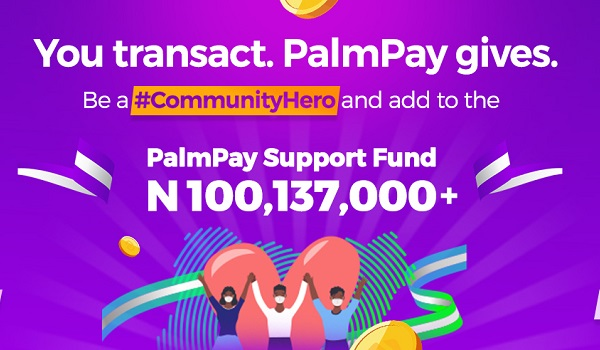 ₦100m palmpay support fund for covid-19
