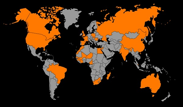 Orange telecom lobal map