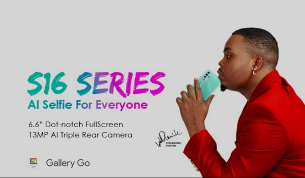 itel s16 AI selfie with olamide
