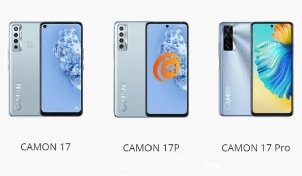 compare TECNO Camon 17 vs Camon 17P vs Camon 17 Pro