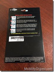Amzer Kristal Edge2Edge Screen Protector back of package