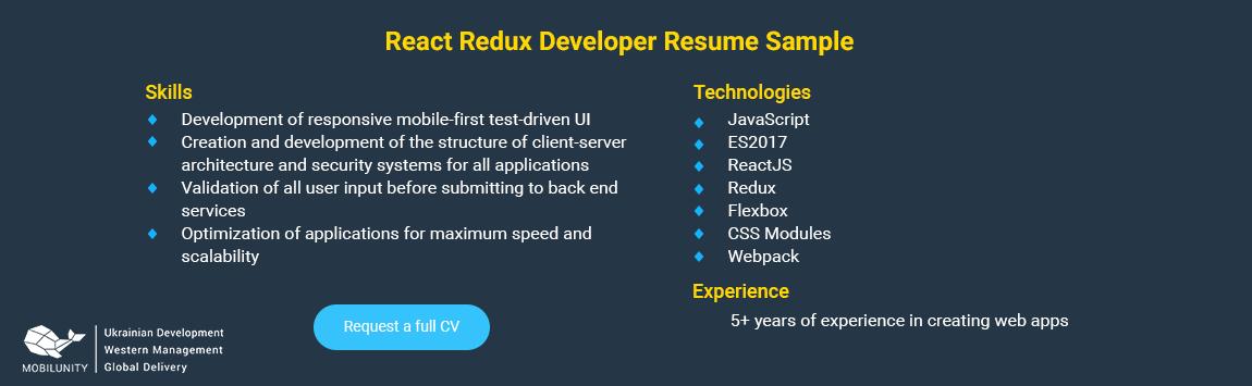react redux developer sample resume
