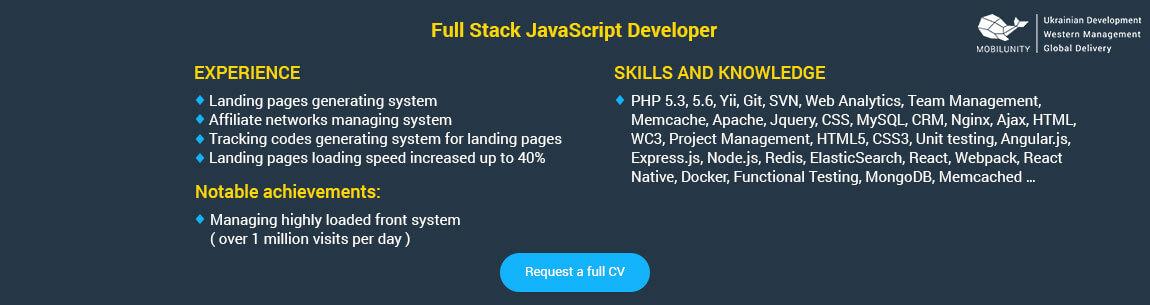 mean stack developer resume sample