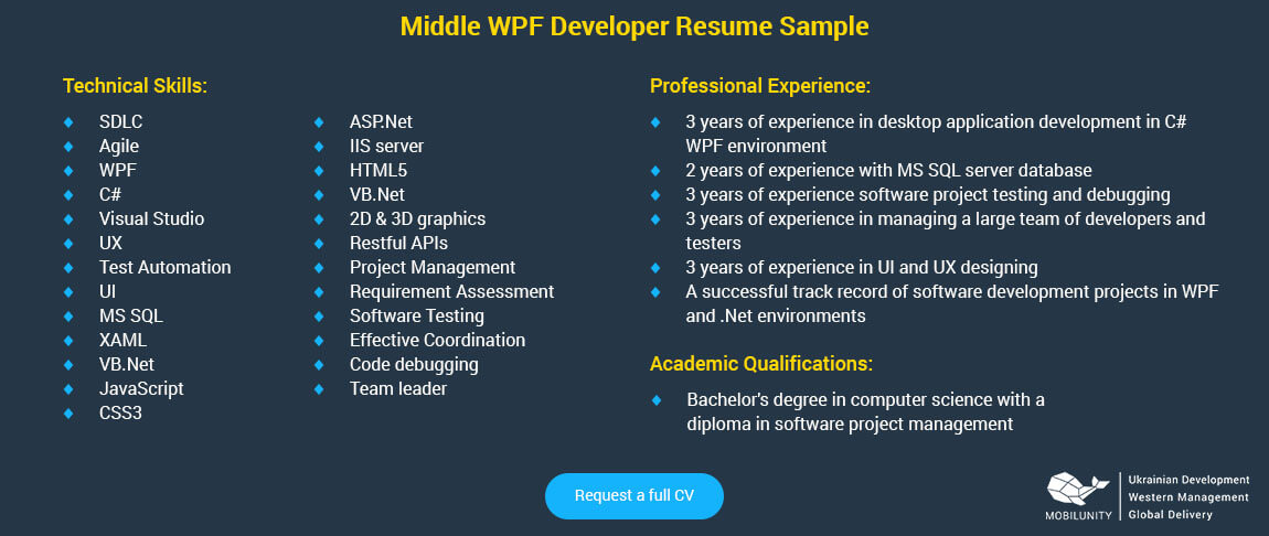 wpf developer resume sample
