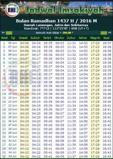 jadwal imsakiyah 1437 H lamongan jatim