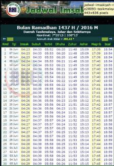 jadwal imsakiyah 1437 H tasikmalaya jabar