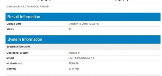Nokia 7.1 reveals at Geekbench