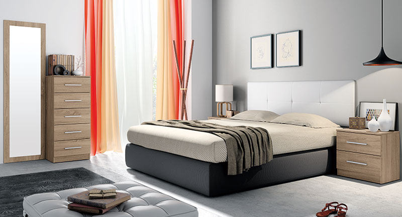 dormitorio con tendencias en colores de madera naturales