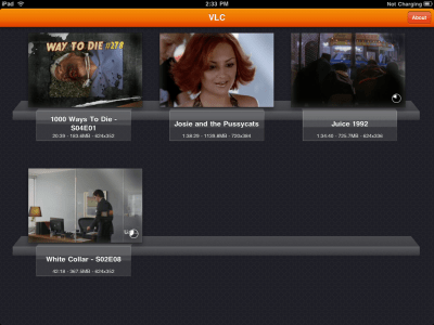 VLC on iPad: Video selection menu