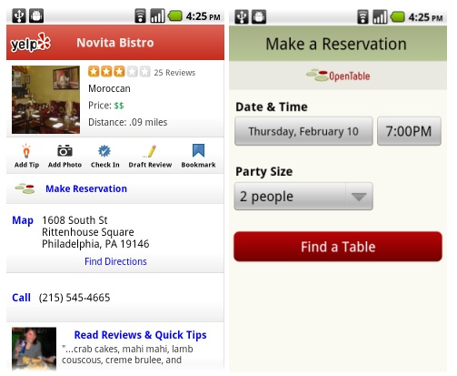 Yelp Mobile Adds Support For Making Restaurant Reservations From - What is open table reservation